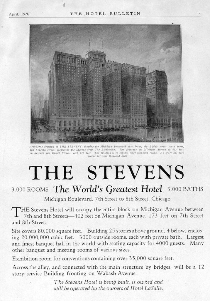 Aankondiging bouw van het grootste hotel ter wereld, het Stevens Hotel in Chicago, uit 1926.